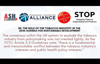 Joint Letter to the UN SG  Re: The role of the tobacco industry in the 2030 agenda for Sustainable Development