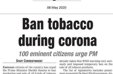 Bangladesh anti tobacco organizations and the citizens urges the government to ban tobacco during the COVID-19 pandemic