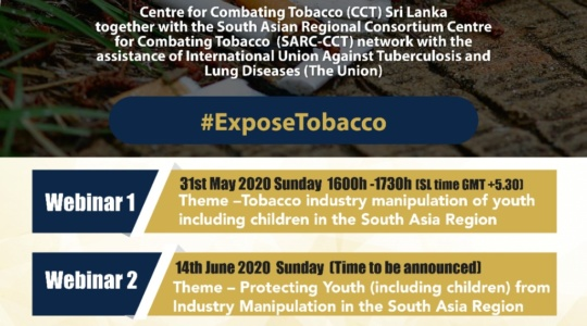 Tobacco industry manipulation of youth and children  in the South Asia Region ; Webinar I: SARC-CCT Webinar Series to Commemorate World No Tobacco Day 2020