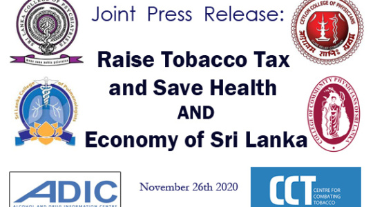 Joint Press Release: Raise Tobacco Tax and Save Health AND Economy of Sri Lanka